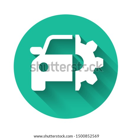 White Car service icon isolated with long shadow. Auto mechanic service. Mechanic service. Repair service auto mechanic. Maintenance sign. Green circle button