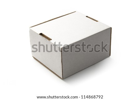 White cardboard box - isolated on white