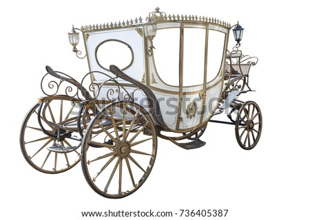 white carriage isolated on white background