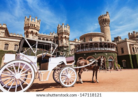 White carriage near the Bangalore King Palace