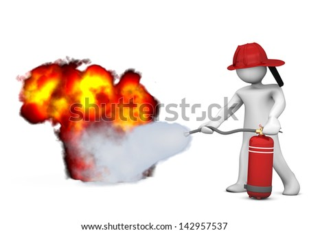 White cartoon character blows out the fire with extinguisher. Stockfoto ©