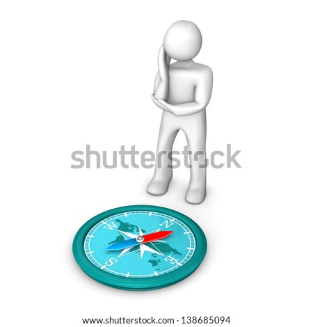 White cartoon character contemplates against a compass. White background.