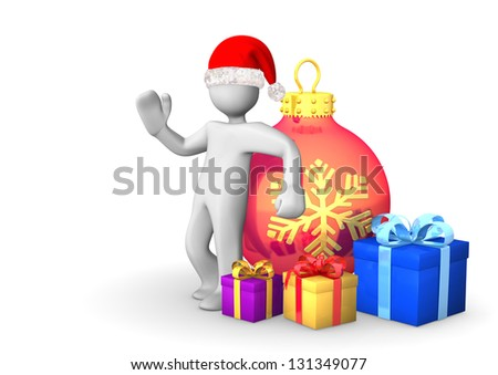 White cartoon character with santa cap and gifts on the white background.