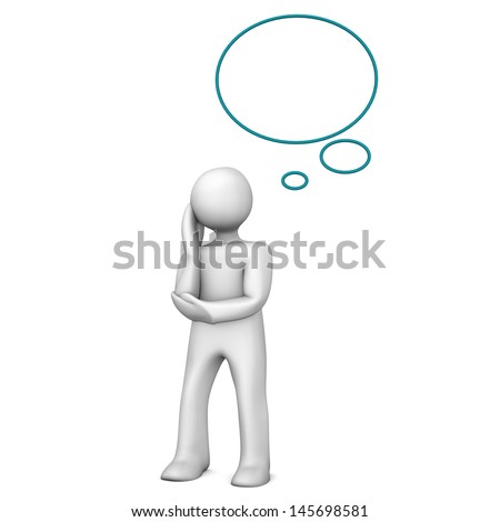 White cartoon character with thought bubble. White background.