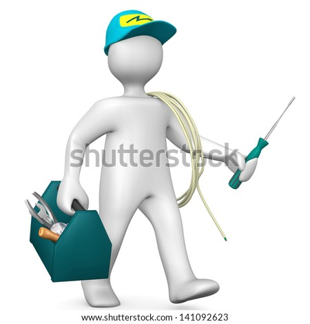 White cartoon electrician with toolbox and cord.