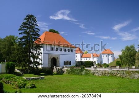 white castle with blue sky in Varazdin, Croatia