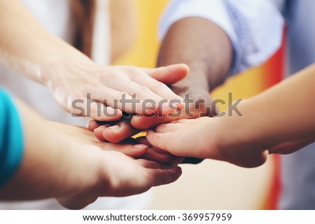 White caucasian and black afro american hands holding together, friendship concept Stock fotó ©