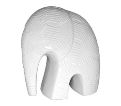 White Ceramic Abstract Elephant with Hexagon Patterns in Profile with harsh light