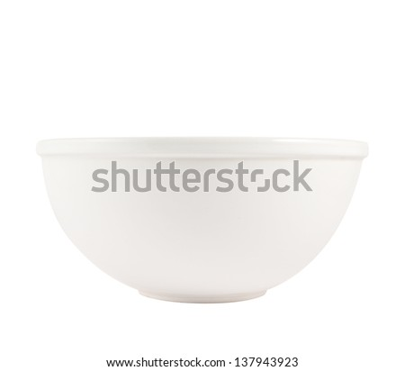 White ceramic bowl isolated over white background, side view