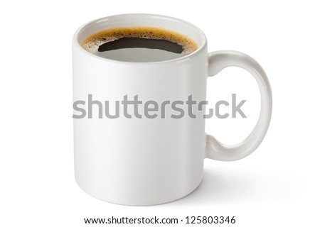 White ceramic coffee mug. Isolated on a white. #125803346