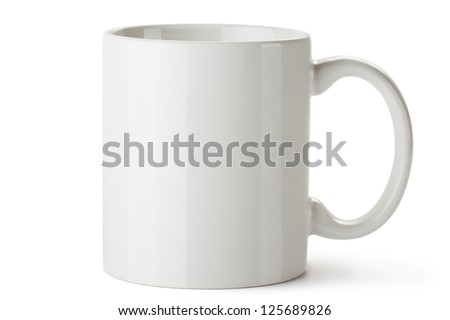 White ceramic mug. Isolated on a white. #125689826