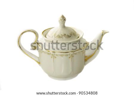 White ceramic teapot isolated on white