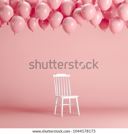 White chair with floating pink balloons in pink background room studio. minimal idea creative concept. #1044578173