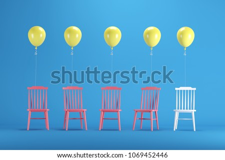White chair with floating yellow balloons among red chairs on blue background. minimal idea concept. #1069452446