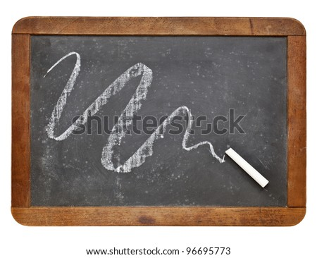white chalk abstract on vintage slate blackboard isolated on white