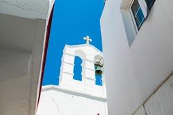 White chapel in Mykonos, Greece