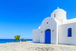 White chapel on a shore in Protaras, Cyprus