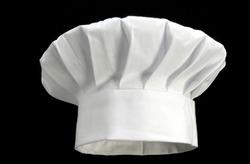 white chef's hat on black