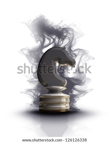 white chess horse with black smoke. isolated on white background. High resolution 3d render