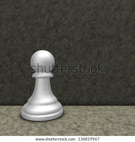 white chess pawn - 3d illustration