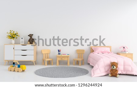 White children room interior for mockup, 3D rendering