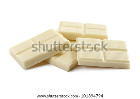 white chocolate block, on white background