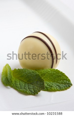 White chocolate truffle and mint leaf