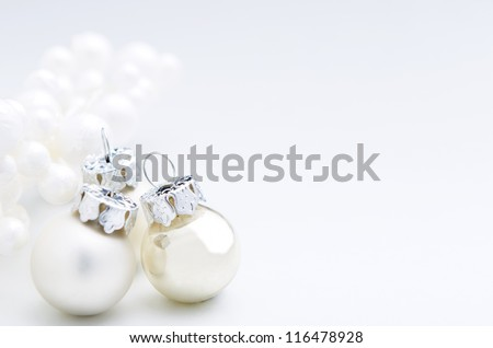 White christmas festive decoration baubles with copy space