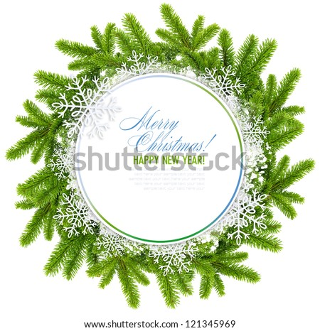 White christmas frame is with the branches of spruce and snowflakes on a white background