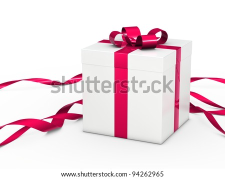 white christmas gift box with pink ribbon