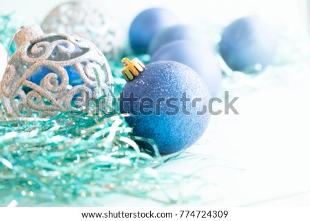 Free photos blue christmas ornaments on bright holiday background