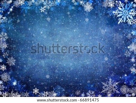 White christmas Seamless Pattern with snowflakes on blue background