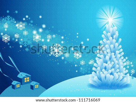 White Christmas tree and snowflakes, blue background