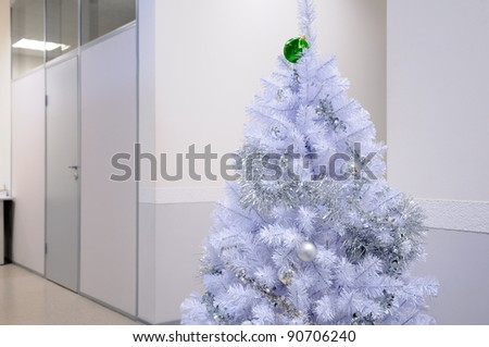 White christmas tree in the office.