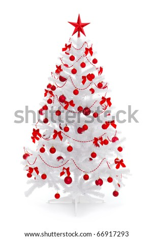 White christmas tree with red decoration, isolated on white