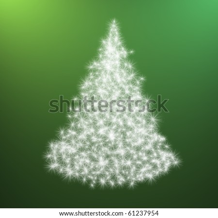 white Christmas tree with stars of light on green background