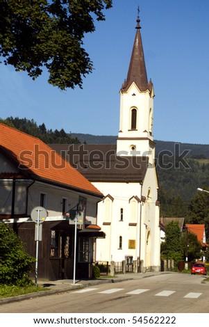 white church - stock photo
