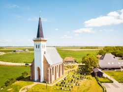 white church Den Hoorn Texel Netherlands, beautiful church in the village Den Hoorn Texel Holland