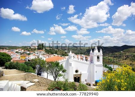White church in Mertola, south of Portugal.