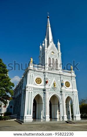 white church, Samut Songkhram, thailand