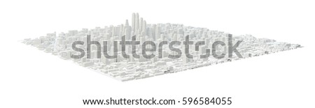 White City Buildings, Aerial View. 3D Illustration