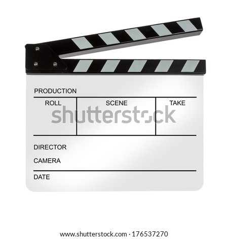 White Clapperboard isolated on white background