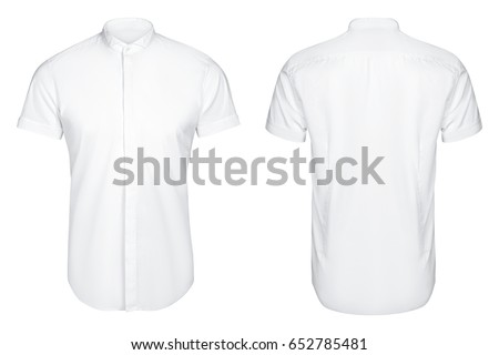 white classic and business shirt, short sleeved shirt, isolated white background.
