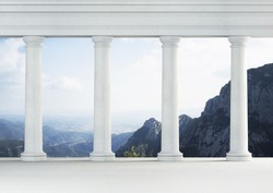 White classic interior with antique columns. Mountains in the background
