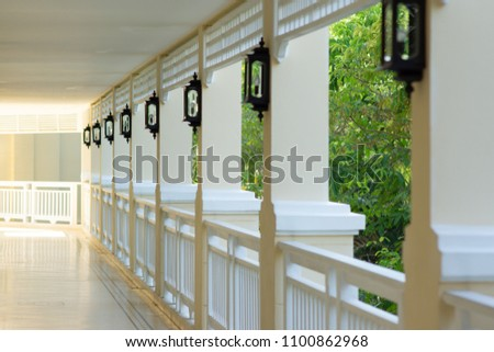 White classic walkway with light #1100862968