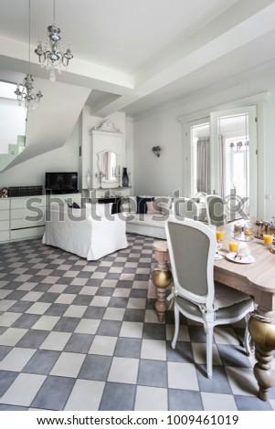 White classical living room interior  #1009461019