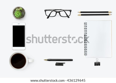 white clean hipster office desk ...