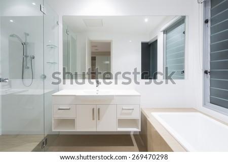 White clean modern minimal bathroom #269470298