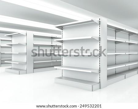 white clean shelves in market. 3d rendering
