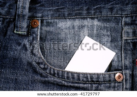 white clear card in jeans pocket